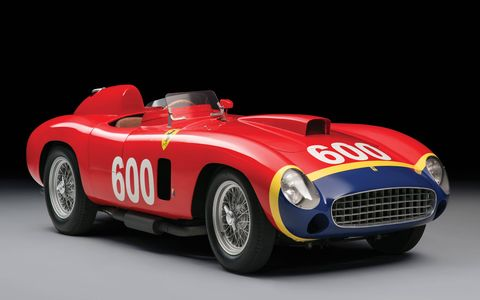 "This 1956 Ferrari 290 MM by Scaglietti was one of four built; it was made specifically for Juan Manuel Fangio, who drove it to fourth place in the 1956 Mille Miglia. It will be sold at RM Sotheby's Dec. 10 ""Driven by Disruption"" auction in New York City."