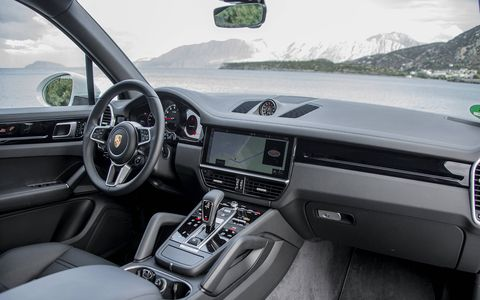 The 2019 Cayenne offers 440 hp and 405 lb-ft of torque, occupying the middle spot in the three-model debut lineup of the third-generation SUV.