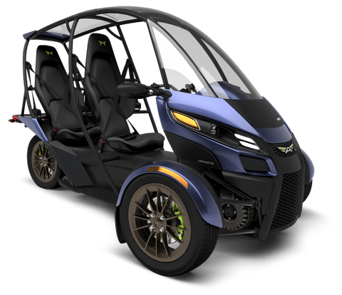 The Arcimoto SRK is a two-seat, three-wheeled electric car that will go 70 or 130 miles on a charge with a base price of $11,900. Plans call for it to be out by the end of the year.