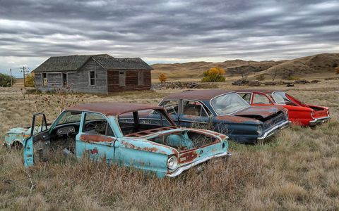 Old cars left in fields are dreams - dreams of the guy who bought the car a half century ago, dreams of each owner over the years, and now your dreams, as you look at them and imagine that you can get them running again. Our friend Mike Magda found these three Ford Falcons in South Dakota. We can get them running. How hard could it be?