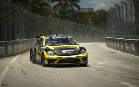 Action from the Red Bull Global Rallycross season-opening event at Fort Lauderdale, Fla.