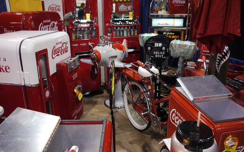 Memorabilia for sale at the Grand National Roadster Show set up day 2015