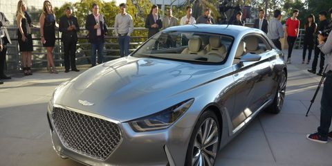 Hyundai's Vision G concept coupe was revealed at the Los Angeles County Museum of Art.