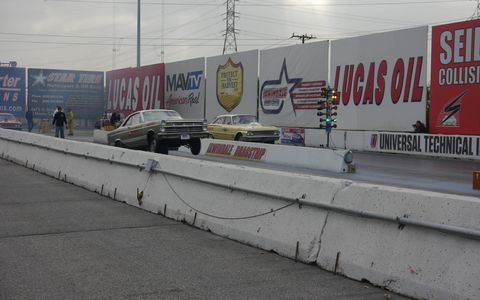 Irwindale has regular drag racing at its NHRA-sanctioned 1/8th mile strip, so organizers include racing as part of the annual MoonEyes Xmas show. Could it get any better?