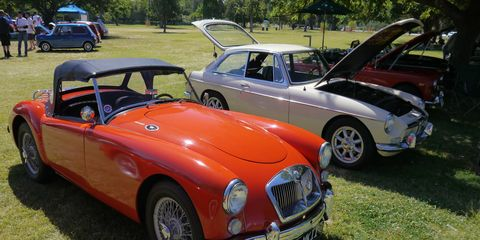 Thanks to the end of the drought there was more green grass for the cars to park on this year at The Queen's English car show in Van Nuys, Calif., where over 350 classics from Land Rover to Lotus lolled on the lawn.