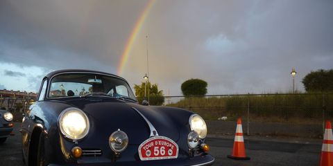Hundreds of beautiful (and two or three battered) air-cooled Porsches rolled into the fourth fabulous Luftgekeulht, held this year near the docks in San Pedro. A little rain in the morning kept the weak and feeble away and left only the true believers. And without rain, there'd be no rainbows (note that it ends at a Porsche).
