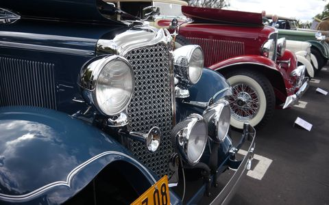 Over 130 widely diverse, colorful cars parked in the lot above the Greystone Mansion in Beverly Hills Sunday for the eighth annual Greystone Concours.