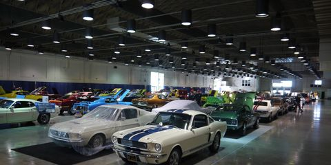 This weekend's Grand National Roadster Show at the Fairplex in Pomona, Calif. isn't all hot rods and roadsters. Hall 9 has 100 magnificent muscle cars. Here are a few. Try and name them all. Is that a Shelby Cobra 350 GT?