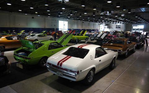 This weekend's Grand National Roadster Show at the Fairplex in Pomona, Calif. isn't all hot rods and roadsters. Hall 9 has 100 magnificent muscle cars. Here are a few. Try and name them all. AMX Javelin?
