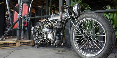 """There were so many cool bikes at the OG Moto Show preview party Friday night that I went back to see them Saturday in the daylight. This was one of them. It just said """"Suavecito,"""" a brand of hair gel for extra-cool dudes, on the tank."""