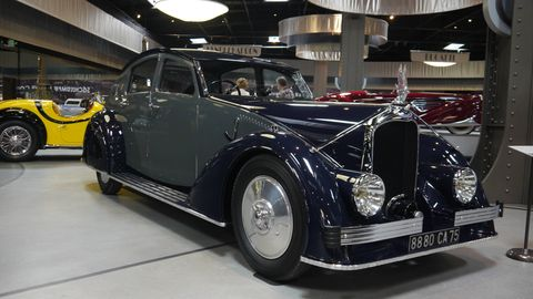 """1935 Voisin Type C25 Aérodyne By Gabriel Voisin PRESENTED FOR THE FIRST TIME in October 1934 at the 28th Paris Salon de l'Automobile, the revolutionary modern design of Gabriel Voisin's C25 Aérodyne drew throngs of admirers and curiosity seekers, despite the formidable competition posed by Renault's new """"Hyper Aerodynamic"""" and Citroën's """"Traction Avant."""" The Aérodyne was Voisin's """"car of the future"""" - an automobile that sought to capitalize upon the public's growing fascination with streamlining and aerodynamics, and a project that Voisin hoped would remake its image in the wake of past bankruptcy. Based on the C24 Aérodyne, Voisin built the Type C25 on an enlarged 4.78 meter 17CV chassis."""