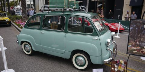 Not all cars at the 2018 Rodeo Drive Concours were silver. In fact, most of them were some other color. This is Mike Malamut's Fiat 600 Multipla.