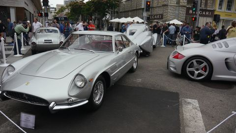 The 25th anniversary is silver, so organizers of the 25th Concours d'Elegance Rodeo Drive sought silver cars to celebrate. 40 showed up, among 100 total. Here is a 1963 Ferrari 400 Superamerica Coupe Aerodinamico Long Wheel Base that was on Ferrari's display stand at the 1963 New York Auto Show before being sold to its first owner.