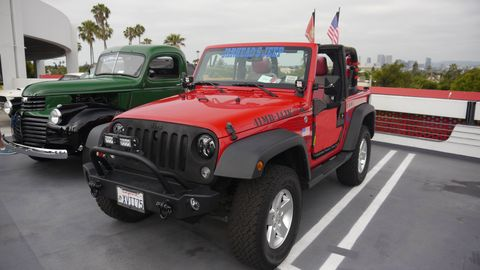This Jeep Wrangler had a lot of aftermarket equipment on it. The GMC truck looked beautifully restored.