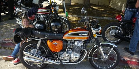 The Venice Vintage Motorcycle Club held its first rally in 2007. This year was the 11th. It started in Venice, ran up the coast to Pepperdine University in Malibu, then back to Venice, where everybody parked and partied. The owner of this fabulous Honda CB750 Four brought his daughter along. Start 'em young!
