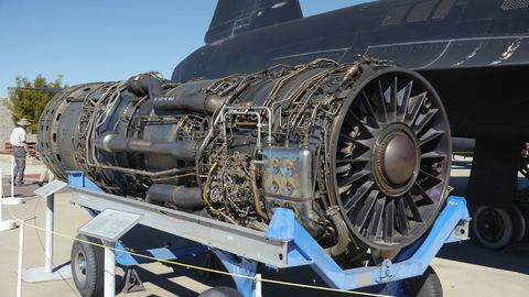 The Pratt & Whitney J-58 jet engine. Two of them powered the SR-71. The engine had to use a special fuel, JP-7, because the fuel tanks got so hot they'd blow up with normal fuel in them.
