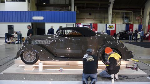 The crew preps the Poteet roadster, a '36 Ford.