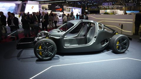 This is the Rimic C_Two carbon fiber tub. Pininfarina uses this tub, along with the extrusions fore and aft, as well as the electric drivetrain, to make the Battista.