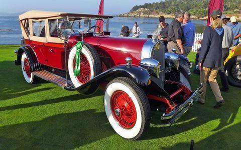 The rooster car, a 1928 Du Pont Model G Merrimac Phaeton.