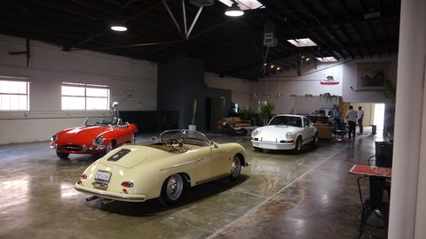 The Motoring Club just opened smack dab in the middle of Marina del Rey, Calif., just a few blocks from the historic Thunder Alley and only a short drive from where Shelby used to build Cobras. Now would be an excellent time to join, it's only $65 a month to hang out and $450 a month to store a car. The membership is young, friendly and car-enthusiastic.Here's the club house half of the building.