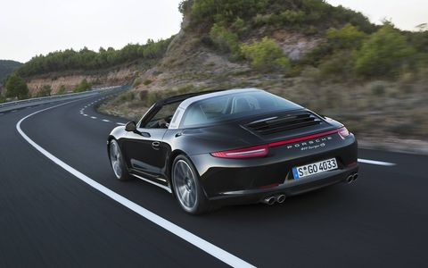 The fully automatic roof system stows the Targa top behind the rear seat.