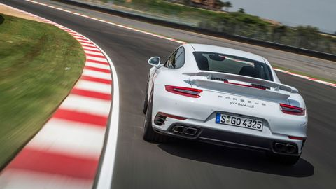 The 2018 Porsche 911 Turbo S gets a 3.8-liter turbocharged H6, AWD and a seven-speed dual-clutch transmission.