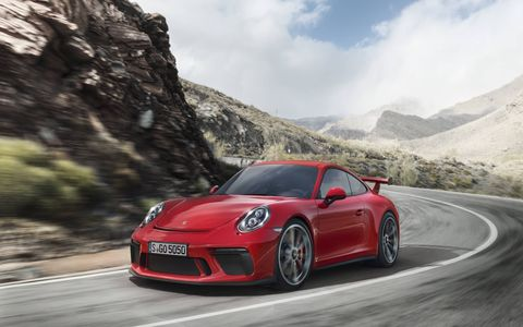 The 911 GT3 gets a 4.0-liter flat six making 500 hp, good for a top speed of 197 mph with the PDK, 198 mph with the six-speed manual.