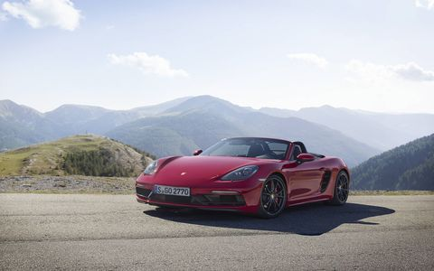The 2018 Porsche 718 Boxster GTS starts at $82,950 including destination. The GTS gets a larger turbocharger and new intake plenum making an extra 15 hp for a total of 365.
