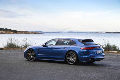 The 2018 Porsche Panamera Turbo Sport Turismo comes with a twin-turbocharged 4.0-liter V8 making 550 hp.
