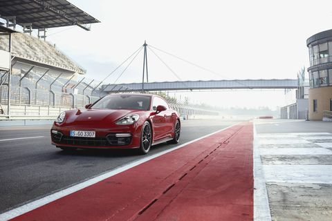 The 2019 Porsche Panamera GTS sedan taking on Bahrain International Circuit