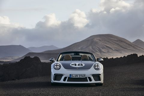 Special paint, interior treatments, and historic crests make up the heritage package on the Porsche 911 Speedster.