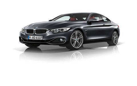 The new BMW 4 Series Coupe is visibly larger in width and wheelbase than the outgoing BMW 3 Series Coupe, and its stretched silhouette sits considerably lower to the road.