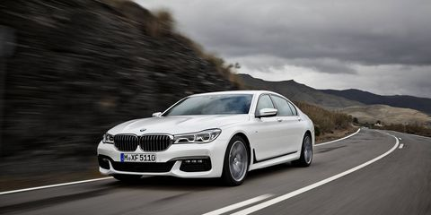 First photos of the new 2016 BMW 740i and 750i luxury sports sedans.