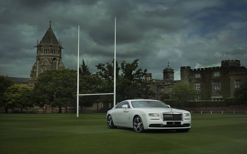 The Rolls-Royce 'Wraith – History of Rugby' is a unique creation from the company's Bespoke Design Studio in Goodwood, England.