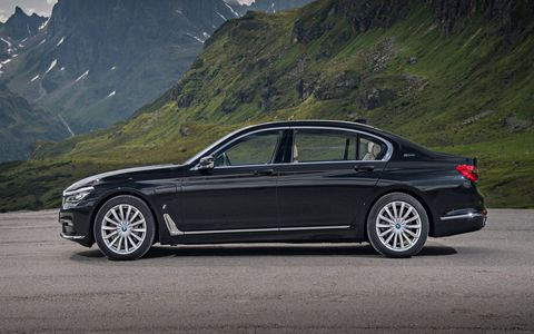 Once fully charged, the BMW 740e can run on electric power exclusively for 13 miles.
