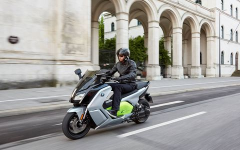 The BMW C evolution electric scooter is a whole different way of looking at transportation. With a 94-Ah battery it offers 48 hp and 53 lb ft of torque. Range is listed at 99 miles, a lot more than we got. Starting price is $13,750. Here it is riding through Europe, where they understand and appreciate scooters.