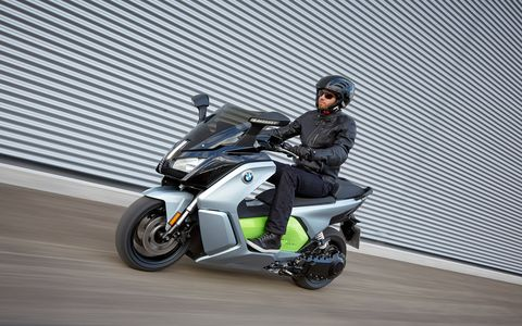 The BMW C evolution electric scooter is a whole different way of looking at transportation. With a 94-Ah battery it offers 48 hp and 53 lb ft of torque. Range is listed at 99 miles, a lot more than we got. Starting price is $13,750.