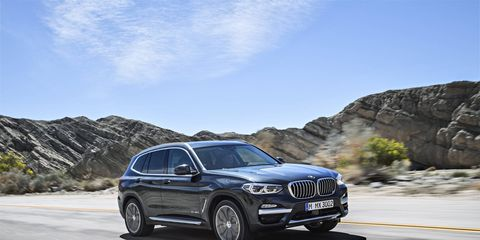 The 2018 BMW X3 gets a turbocharged 2.0-liter inline-four making 248 hp, an eight-speed automatic and all-wheel drive.