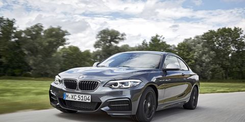 The 2017 BMW M240i xDrive is visually identical to the rear-drive version we tested, minus the badge. It makes 335 hp and 369 lb-ft of torque.
