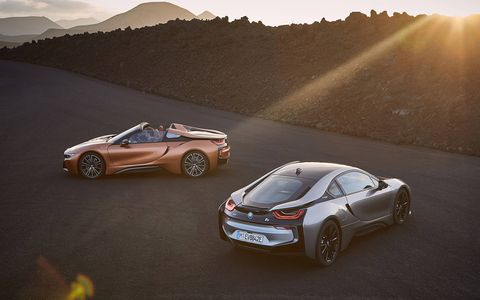 BMW revealed its long-awaited 2019 i8 Roadster, along with an updated i8 Coupe, at the 2017 Los Angeles Auto Show. The Roadster, or course, gets a folding cloth top; both versions of the car get 369 total system horsepower and an extended 18-mile electric-only range.