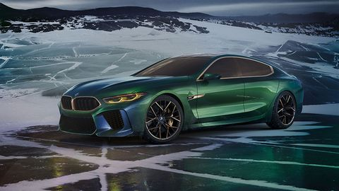 BMW Concept M8 Gran Coupe previews a large four-door coupe based on the upcoming 8-Series, in the formula of the 6-Series Gran Coupe.