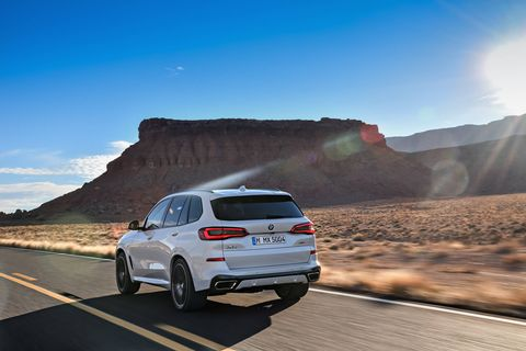 The 2019 BMW X5 crossover -- both larger and quicker than the model it replaces -- debuts with two engine options: A 335-hp 3.0-liter inline-six and a 456-hp 4.4-liter V8. Performance features like rear-wheel steering will be available.
