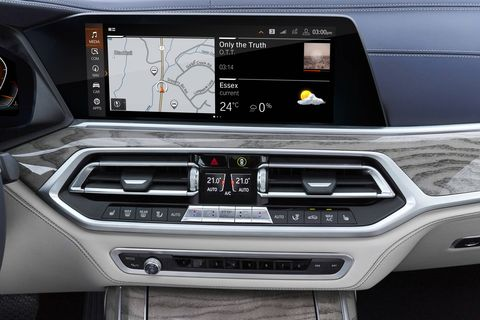 The 2019 BMW X7 will get the company's newest edition of iDrive, its nav/radio/media/phone rotary controller, and two 12.3-inch screens.