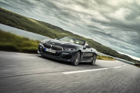 The 2019 BMW M850i xDrive Convertible features a 4.4-liter twin-turbo V8 making 523 hp and 553 lb-ft of torque.
