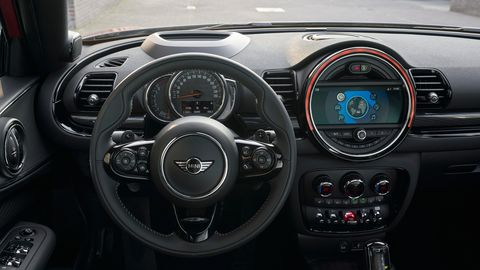 The 2020 Mini Clubman comes with a new steering wheel with more control functions on the spokes and a larger color screen. Bluetooth connectivity is now standard, and a wireless phone charging pad is optional.