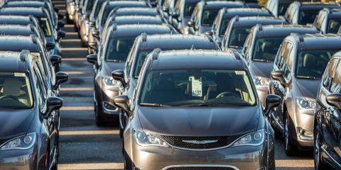 Hundreds of Chrysler Pacificas, ready for sale.
