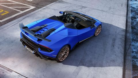 The 2018 Lamborghini Huracan Performante Spyder uses flaps in the back to direct air around (or thru) the rear wing.