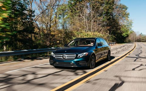 The E400, for the unfamiliar comes with a 329-hp, 354-lb-ft twin-turbo V6 and a nine-speed automatic.