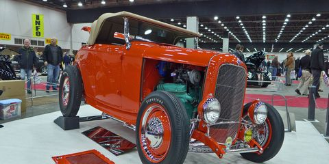 There were a lot of traditional-style hot rods on the main floor this year, like this Pontiac-powered Ford roadster.