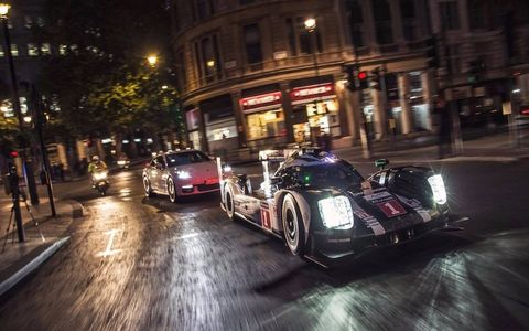 Porsche brought its 919 Hybrid race car and the new Panamera Hybrid to show off in London before the Paris auto show.